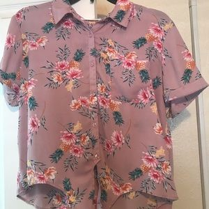 Pink Floral/Tropical Button Up Front Tie Blouse